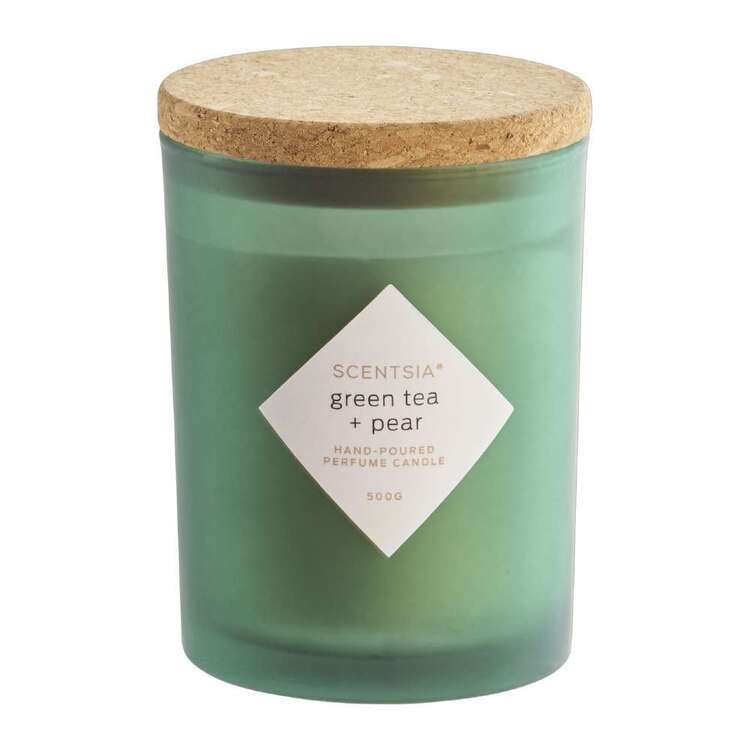 Scentsia Green Tea & Pear Scented 500g Candle With Cork Lid