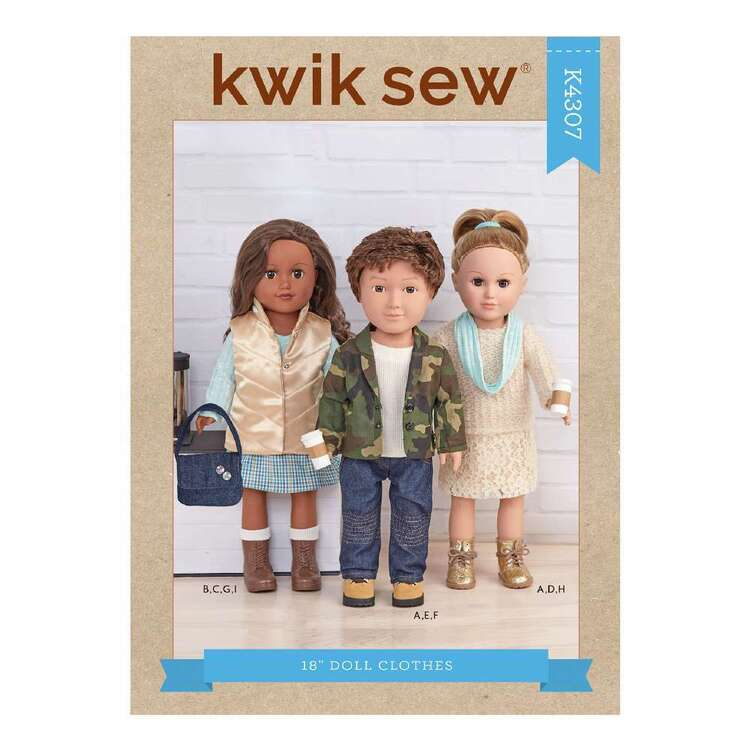"Kwik Sew Pattern 4307 18"" Doll Clothes"