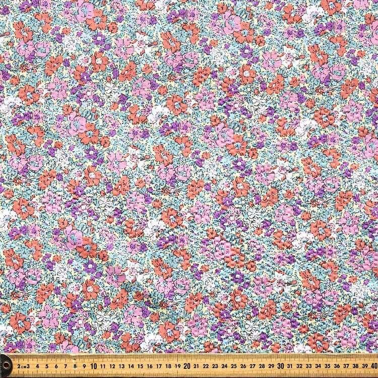 Floral #2 Printed Crinkle Seersucker Fabric