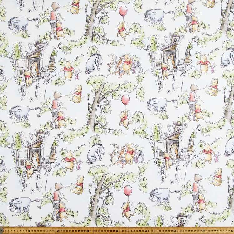 Winnie The Pooh Treehouse Printed Cotton Sheeting