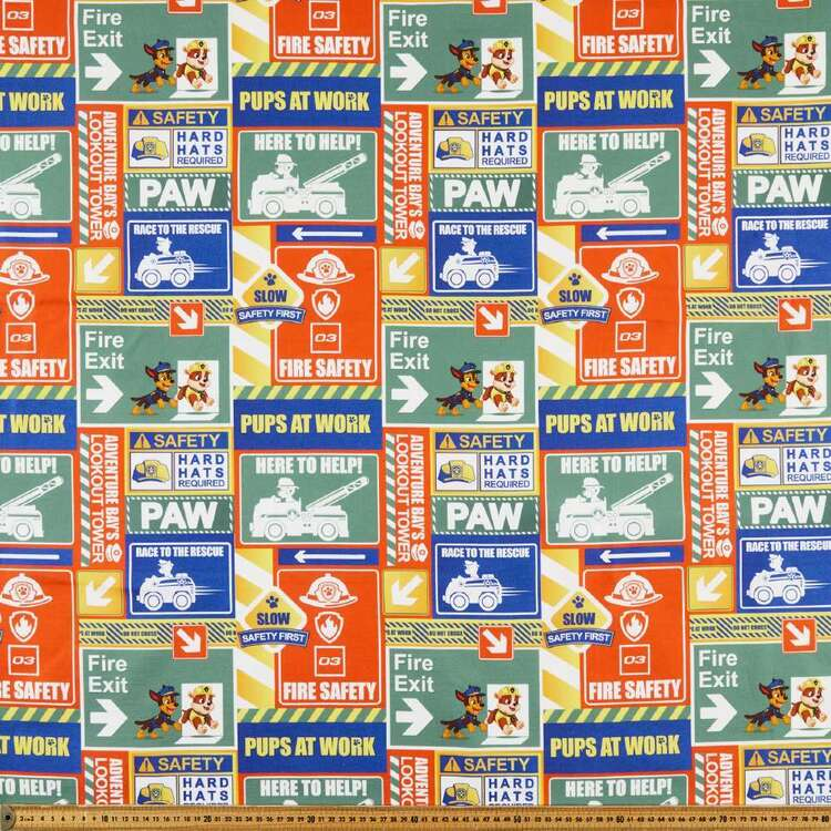 Paw Patrol Safety Signs Printed Cotton Canvas