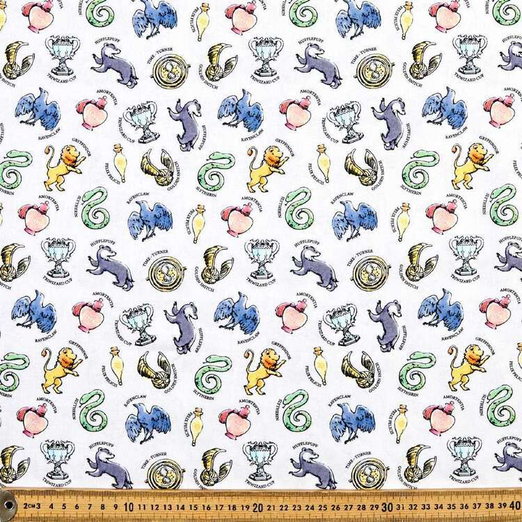 Harry Potter Whimsical House Charms Cotton Fabric