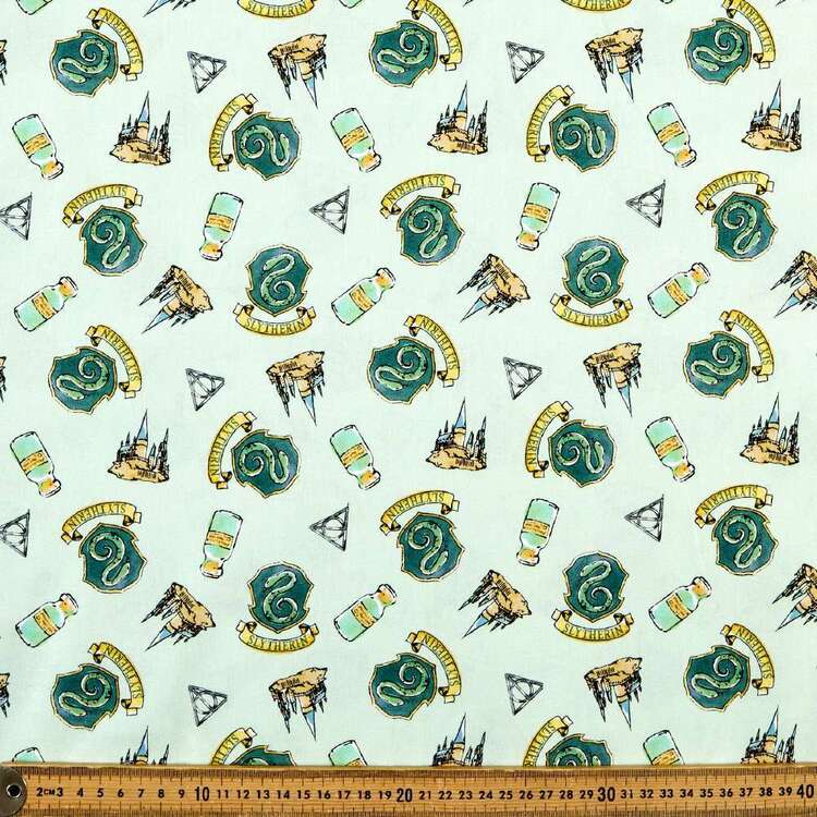 Harry Potter Whimsical Slytherin Cotton Fabric