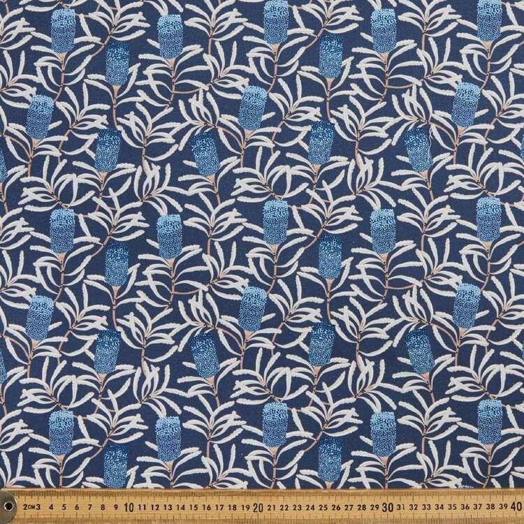 Jocelyn Proust Digital Blue Banksia Cotton Fabric