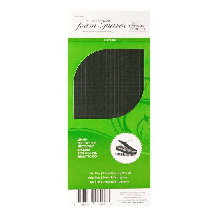 Couture Creations Black 3D Foam Squares 904 Pack
