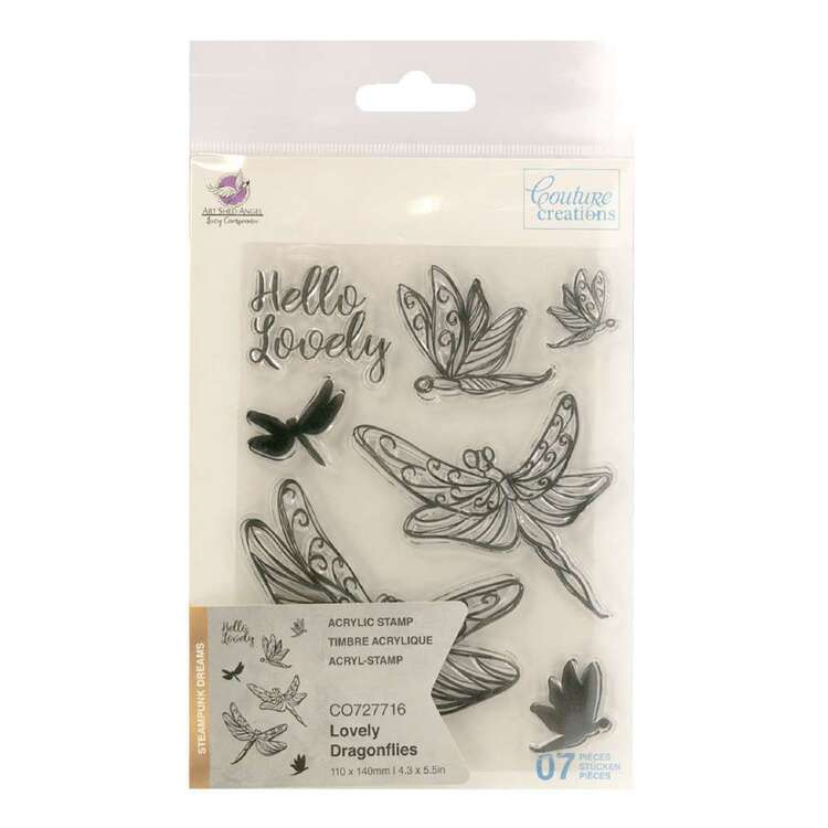 Couture Creations Lovely Dragonflies 7 Pieces Steampunk Dream Stamp Set
