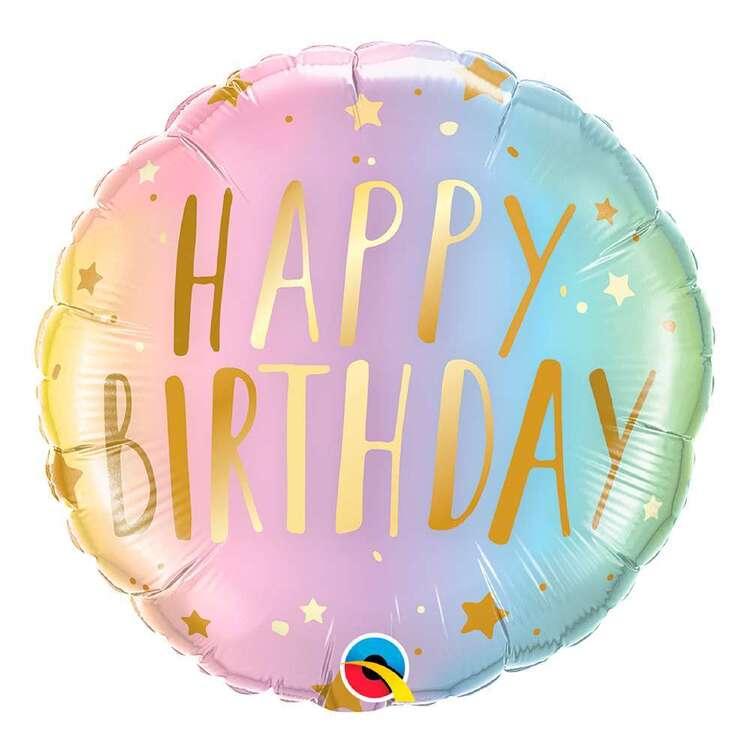 Birthday Pastel Ombre & Stars Round Foil Balloon