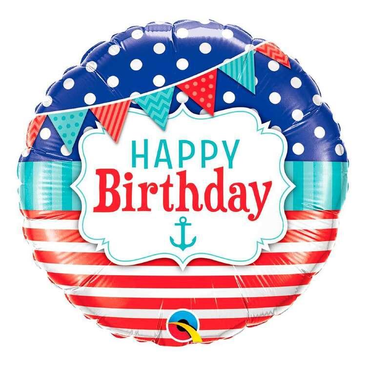 Qualatex Happy Birthday Nautical Latex Balloon