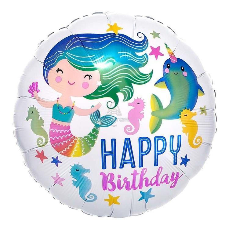 "Qualatex 17"" Happy Birthday Ocean Fun Mermaid Foil Balloon"