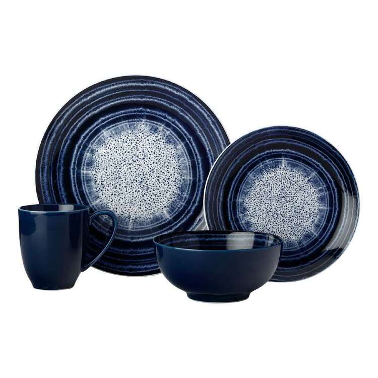 Casa Domani Radial Coupe 16 Piece Dinner Set Indigo