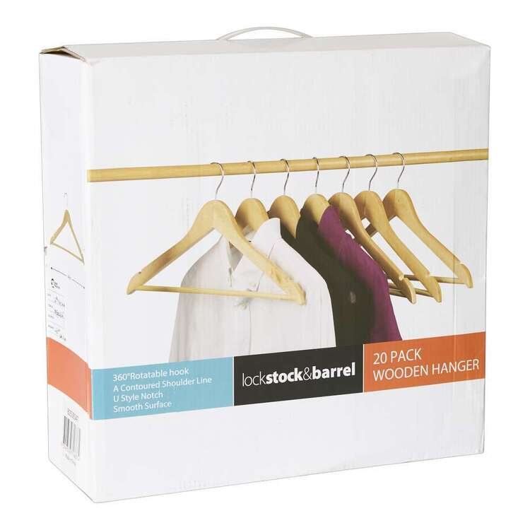 Lock Stock & Barrel 20 Pack Wooden Hangers
