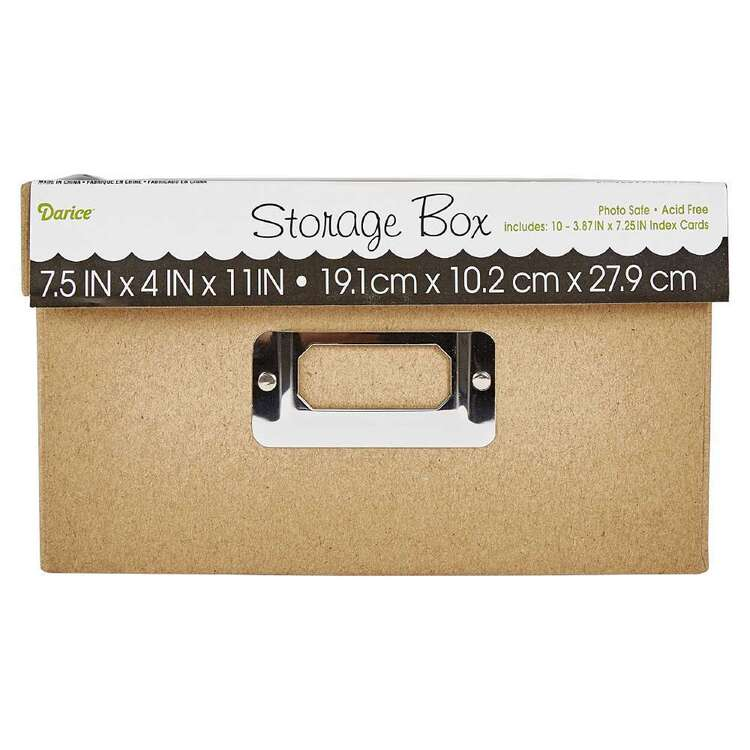 Darice 7.5 x 4 x 11 in Photo Storage Box Tan Paper 7.5 x 11 in