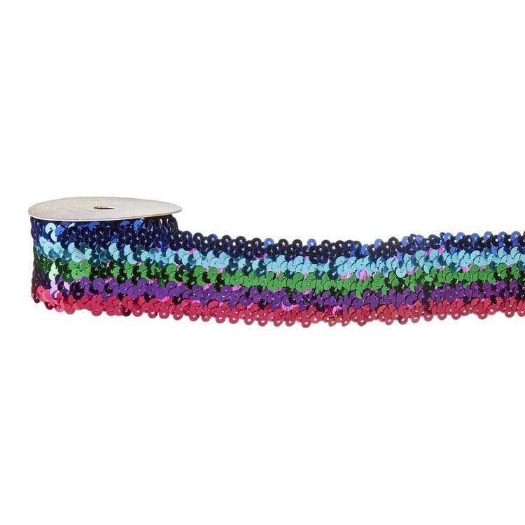 Rainbow Stripe Sequin Elastic