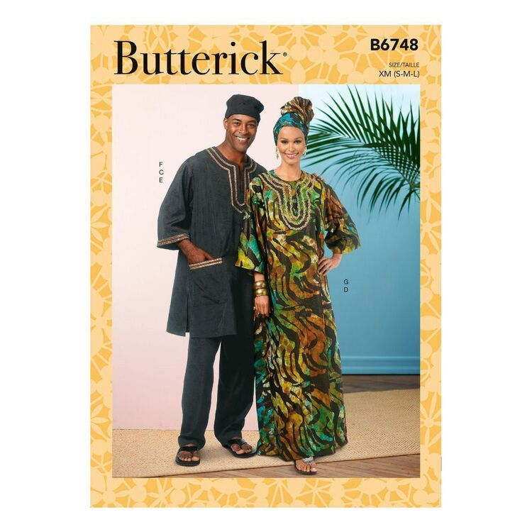 Butterick Sewing Pattern B6748 Misses'/Men's Tunic, Caftan, Pants, Hat and Head Wrap