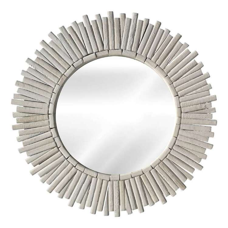 Living Space Wood Starburst Circle Mirror