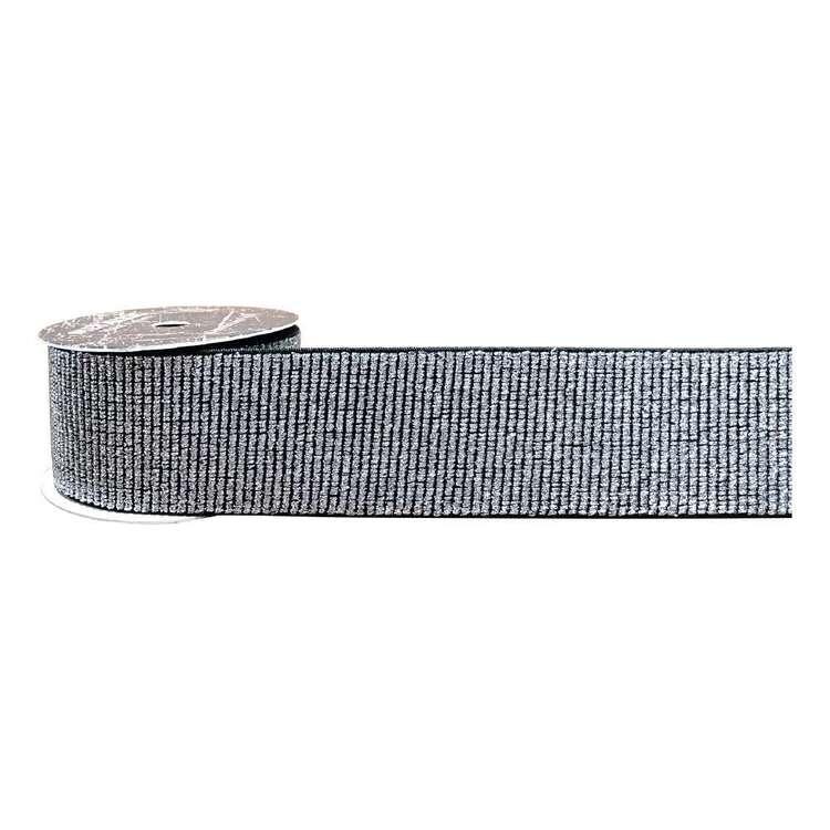 Black & Silver Metallic Elastic
