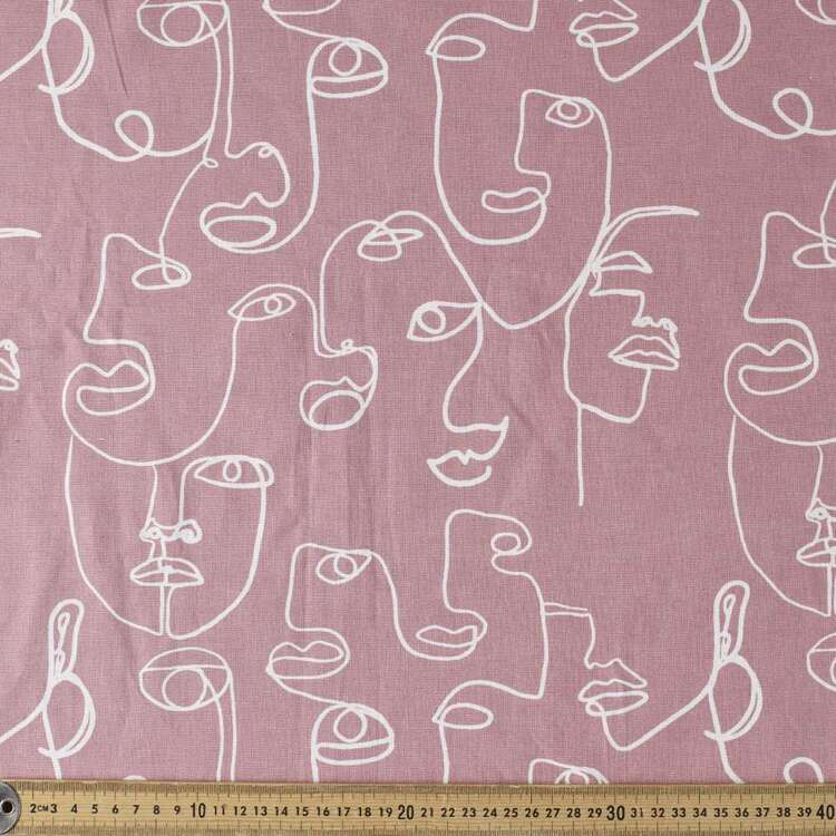 Faces Printed 132 cm Cotton Linen Fabric