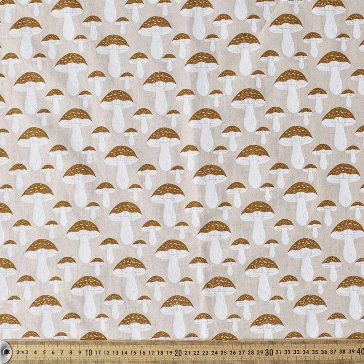 Mushroom Printed 132 cm Cotton Linen Fabric
