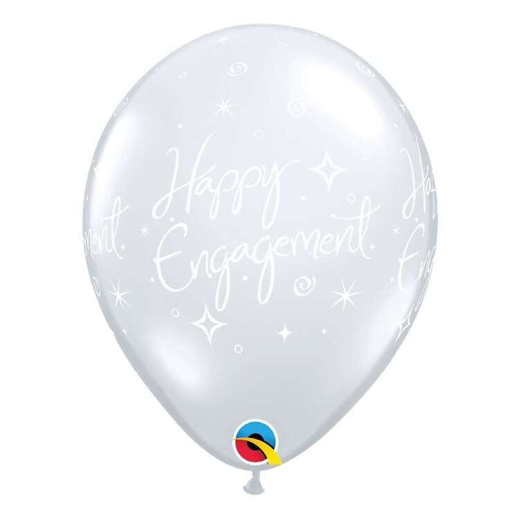 "Qualatex 11"" Happy Engagement Elegant Sparkle Clear Latex Balloon"