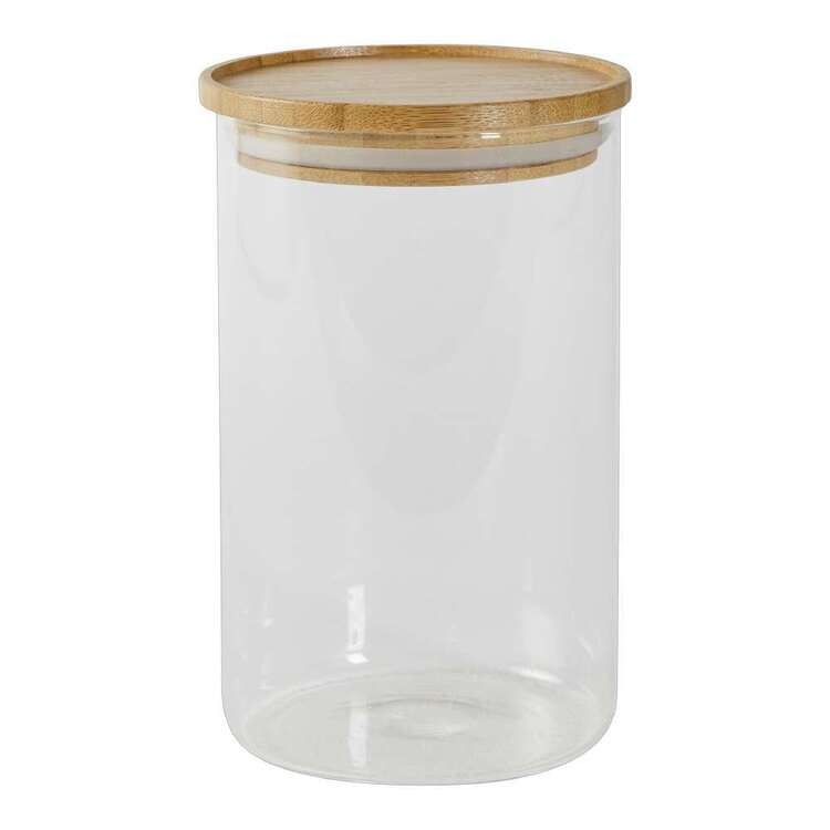 Culinary Co 1L Glass Canister With Bamboo Lid