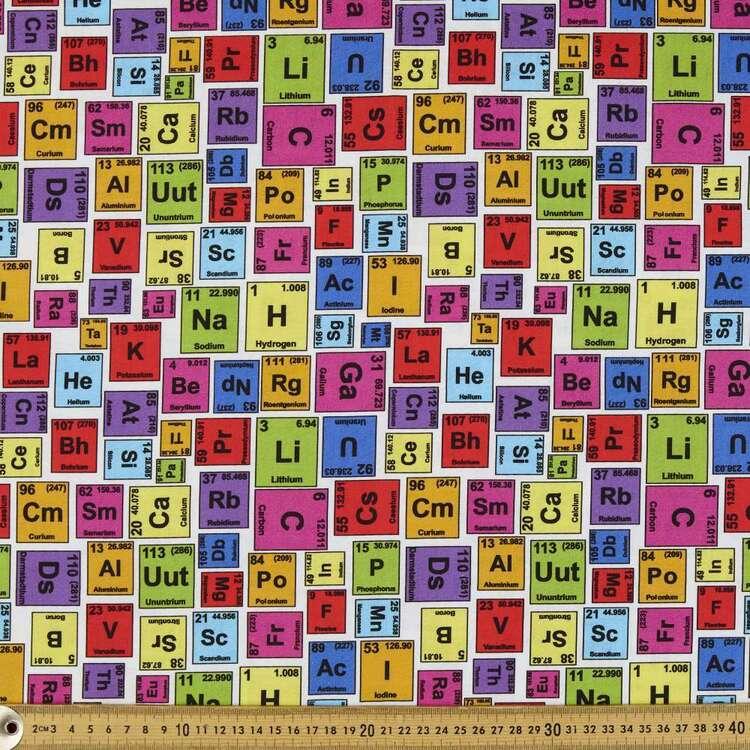 Periodic Table Cotton Fabric