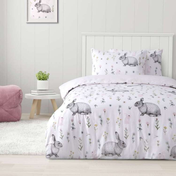 Kids House Flannelette Fluffy Bunny Quilt Cover Set