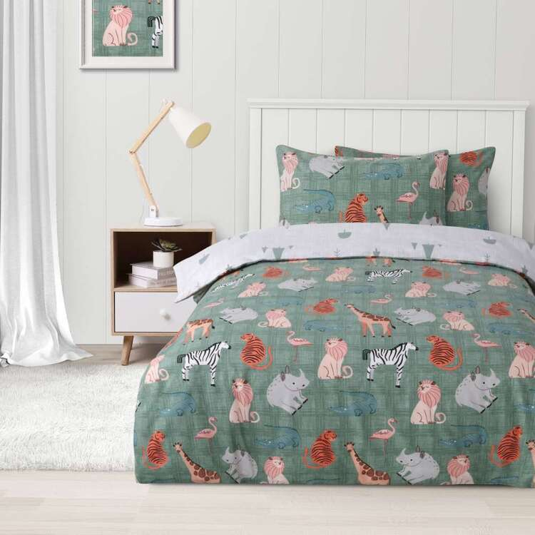 Kids House Flannelette Animal Pride Quilt Cover Set