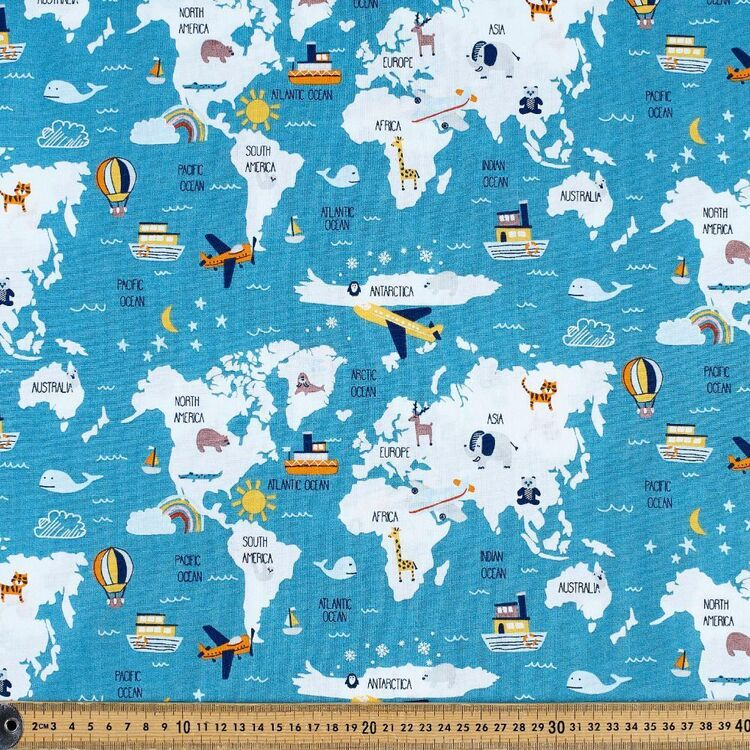 Fly Fly Away Map Cotton Fabric