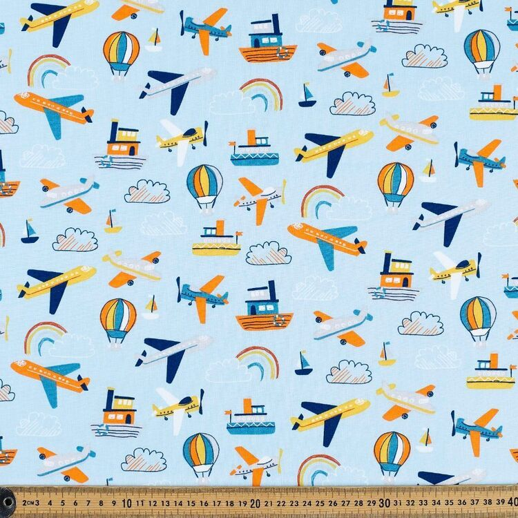 Fly Fly Away Planes In Sky Cotton Fabric