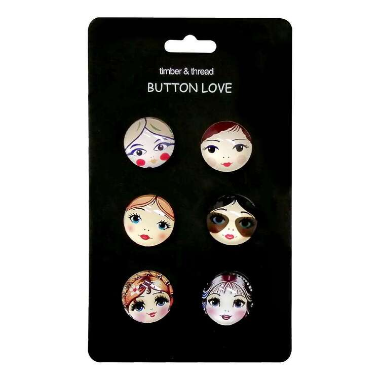 Timber & Thread Girl Face Buttons