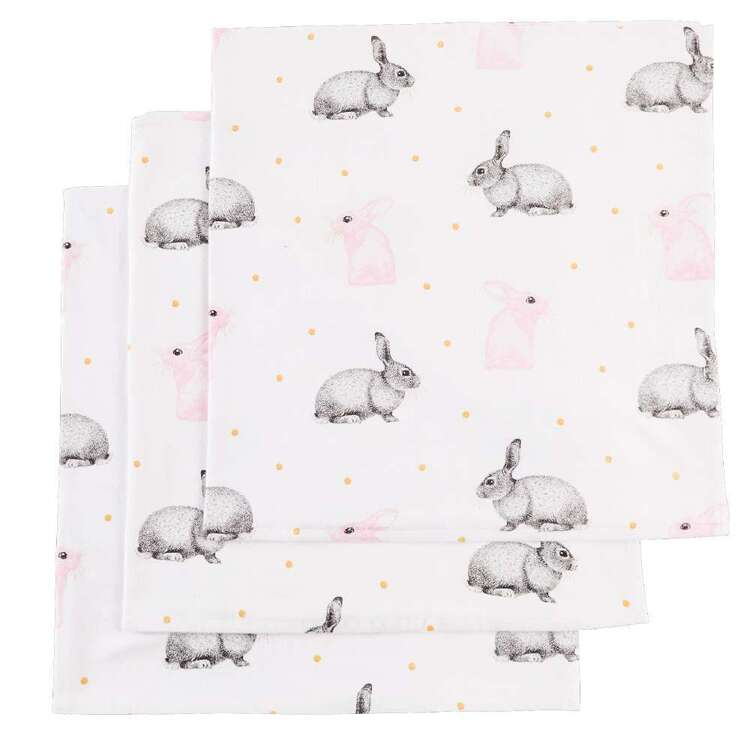 KOO Baby Flannelette Bunny Wraps 3 Pack