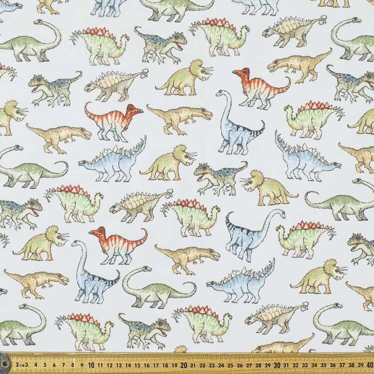 Dinos Printed 112 cm Flannelette Fabric