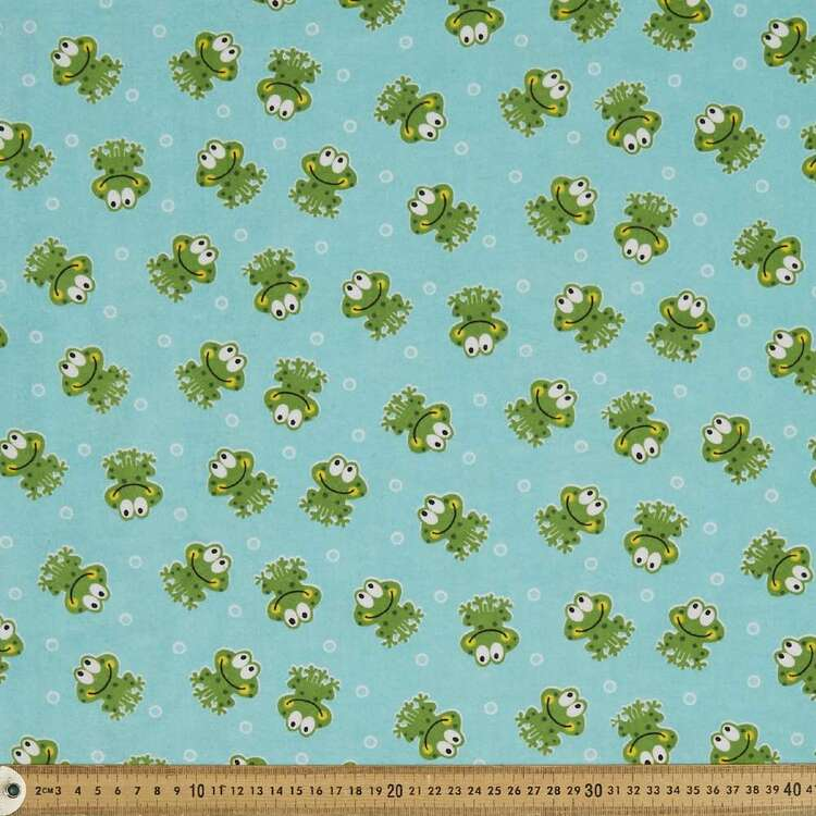 Bubble Frogs Printed 112 cm Flannelette Fabric