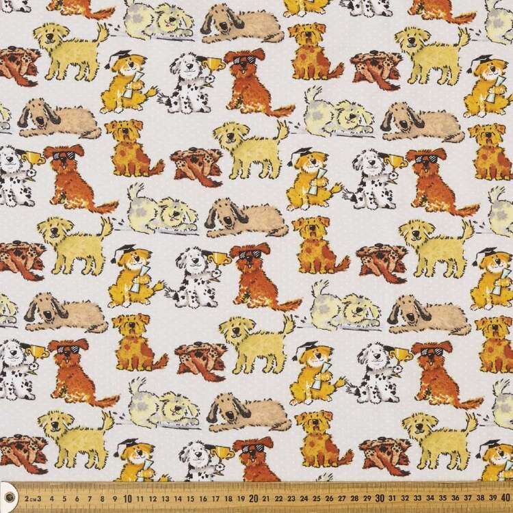 Good Puppy Printed 112 cm Cotton Flannelette Fabric