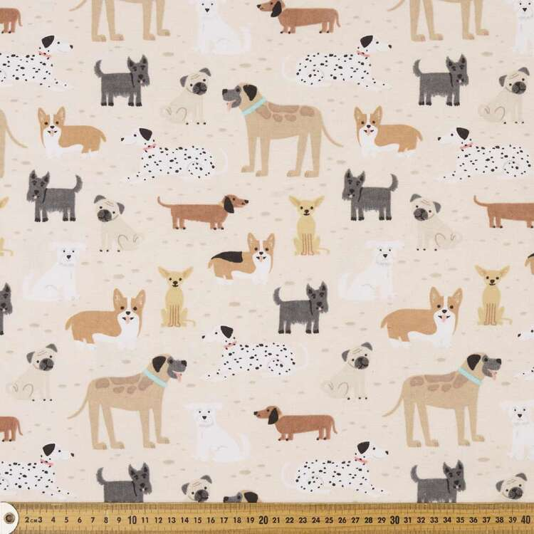 Posers Printed 112 cm Cotton Flannelette Fabric