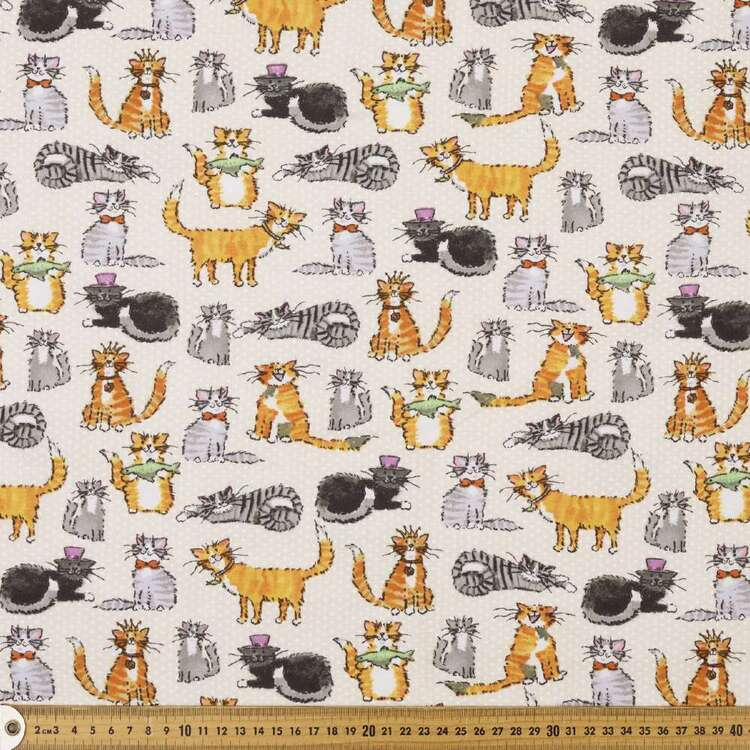 Klever Kitty Printed 112 cm Cotton Flannelette Fabric
