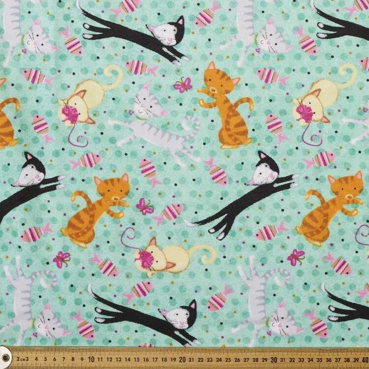 Frolicking Feline Printed 112 cm Cotton Flannelette Fabric