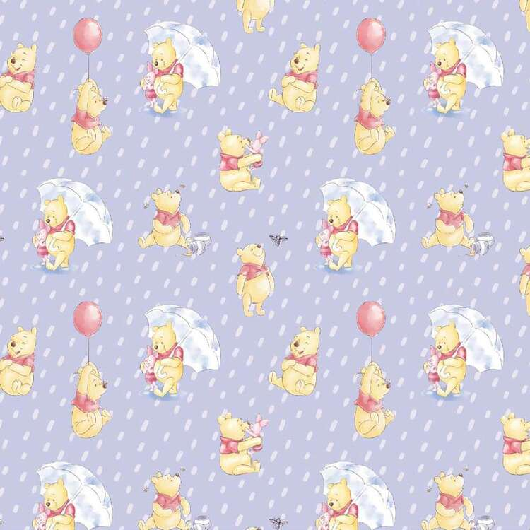 Disney Winnie The Pooh & Piglet In Rain Cotton Fabric