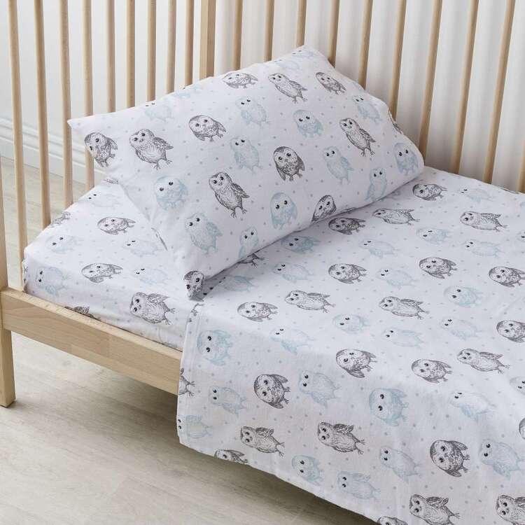 KOO Baby Flannelette Owl Cot Sheet Set