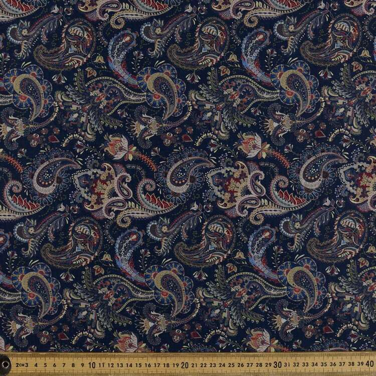 Ornate Paisley Digital Printed 142 cm Sateen Fabric