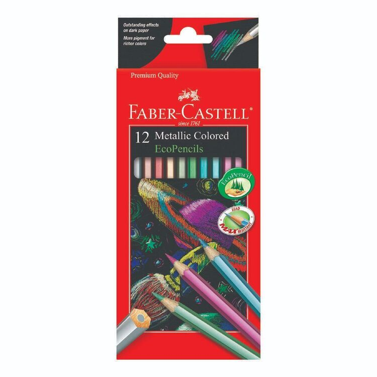 Faber Castell 12 Metallic Coored Eco Pencils Set