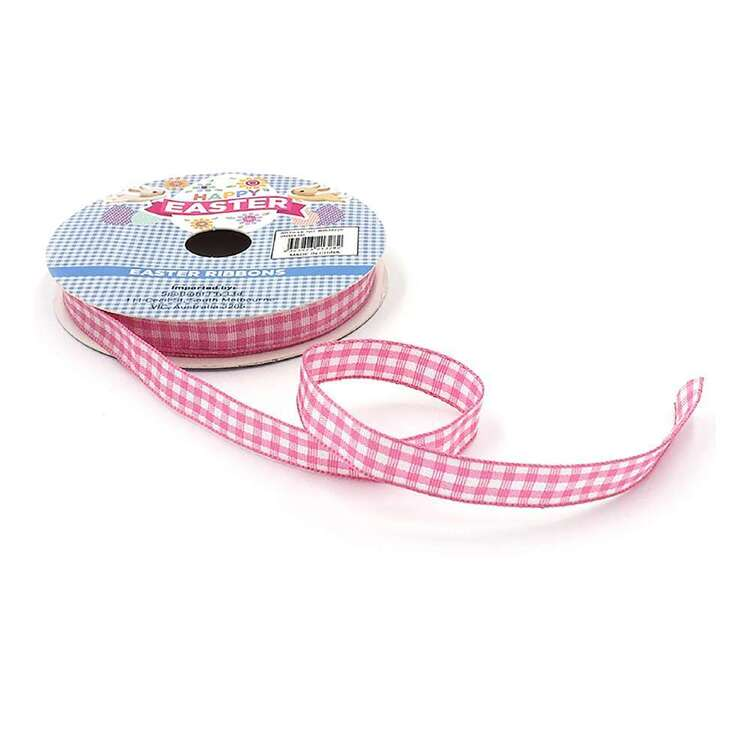 Woven Pink Gingham Easter Ribbon