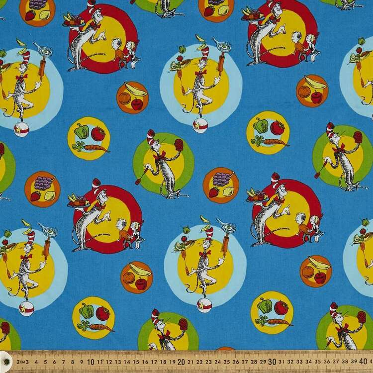Dr Seuss Chef Circles Cotton Fabric