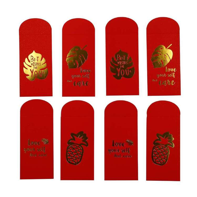 Party Creator Chinese New Year Red Envelope With Gold Print 8 Pack