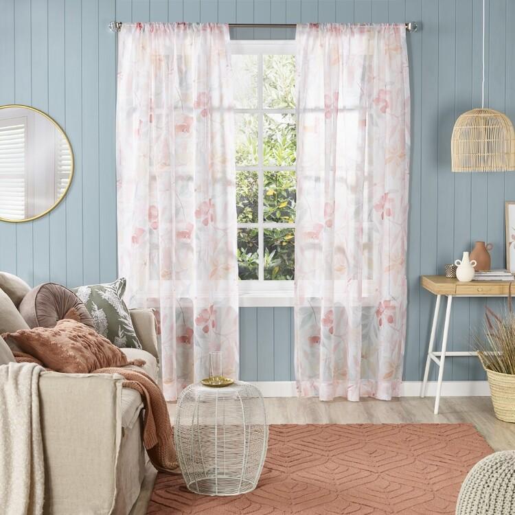 KOO Floral Mira Sheer Rod Pocket Curtains