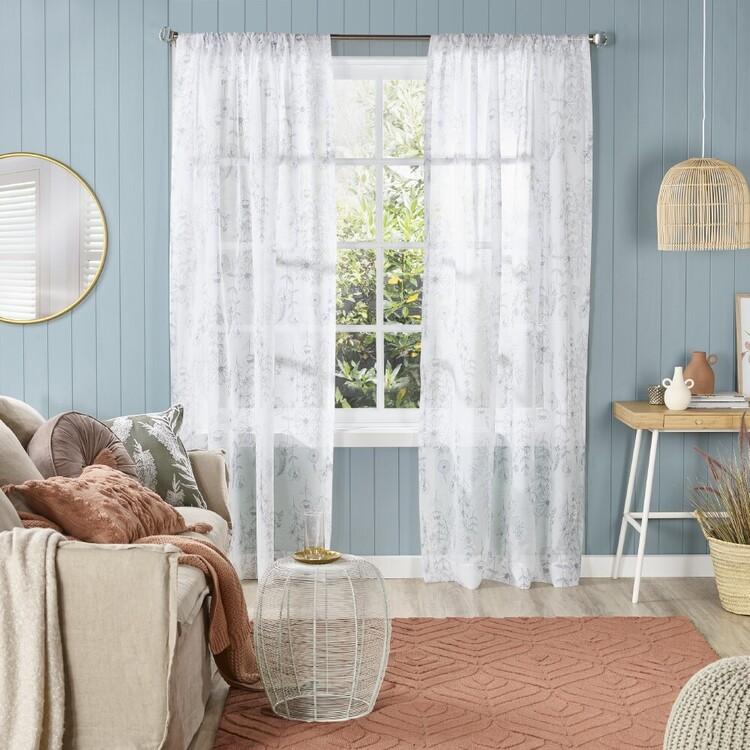 KOO Floral Melise Sheer Rod Pocket Curtains