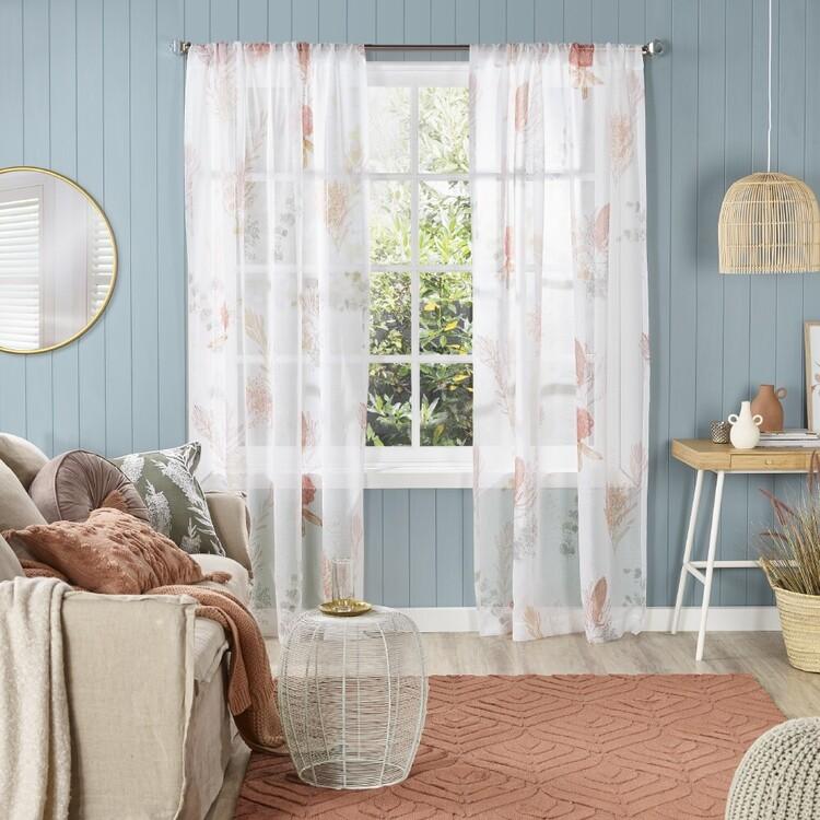 KOO Floral Native Sheer Rod Pocket Curtains