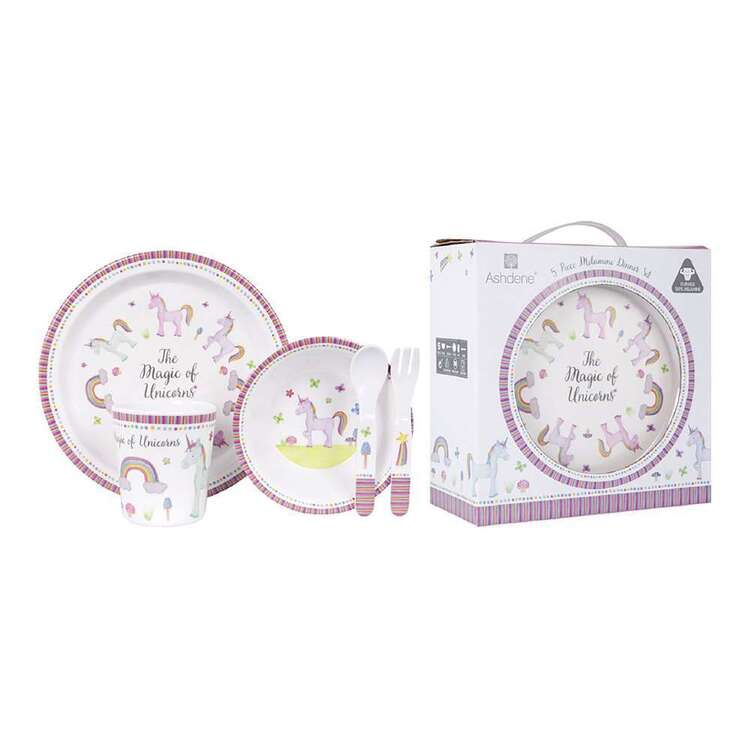 Ashdene Unicorn Magic Kids 5 Piece Dinner Set