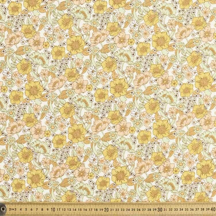 Dahlia Dreams Printed 112 cm Pinwale Cord Fabric