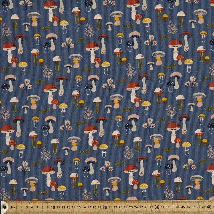Mushrooms Printed 112 cm Cotton Pinwale Corduroy Fabric